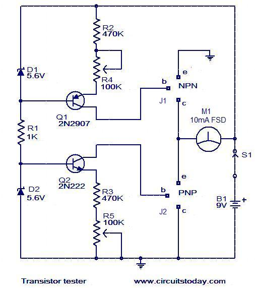 transistor tester to test hfe and working of npn and pnp transistors rh circuitstoday com  simple transistor tester circuit diagram