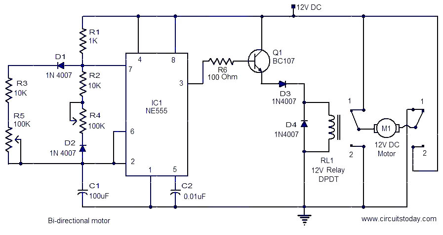 Bi Directional Motor respond on dpdt relay wiring diagram