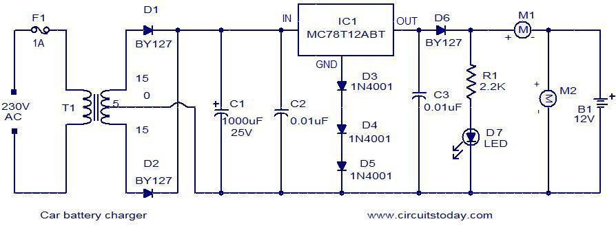 Car battery charger | Battery Charger Transformer Wiring Diagram |  | CircuitsToday