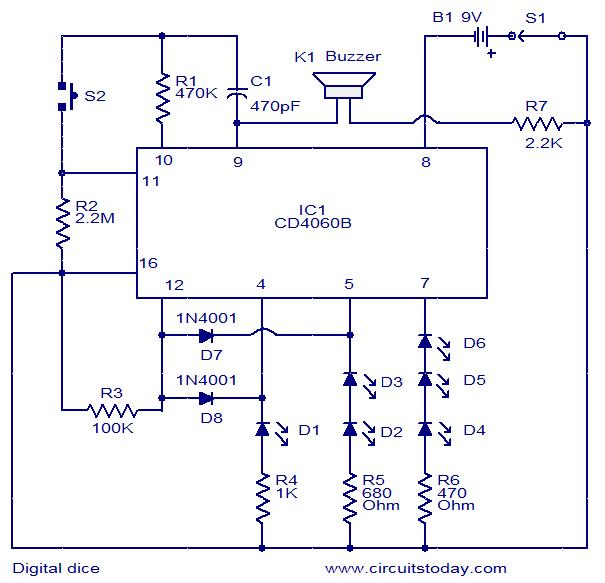 Digital dice circuit - Electronic Circuits and Diagram-Electronics ...