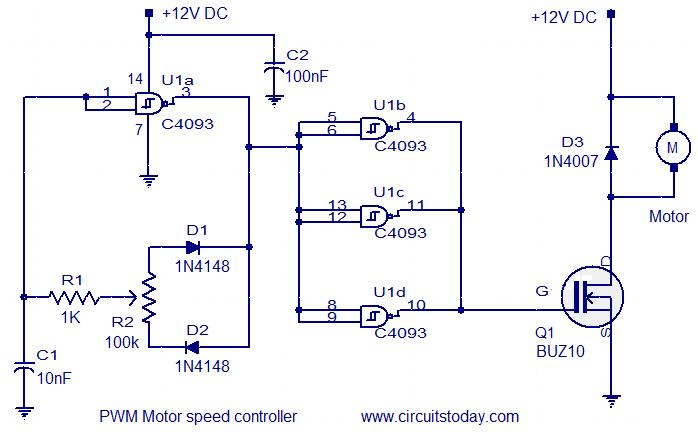 Pwm motor speed controller electronic circuits and for Motor speed control pwm