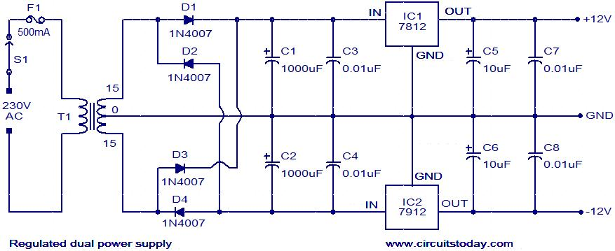 The circuit can be powered from a +12/-12 V DC dual power supply.