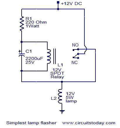 simplest lamp flasher circuit electronic circuits and diagrams rh circuitstoday com 24V Relay Wiring Diagram 24V to 12V Diagram