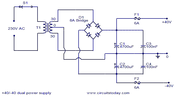 40V dual power supply - Electronic Circuits and Diagrams-Electronic