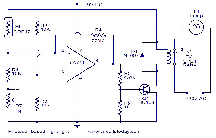 photocell based night light electronic circuits and diagrams rh circuitstoday com photocell sensor circuit diagram light sensor wiring diagram