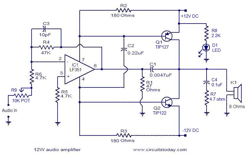 simple 10w audio amplifier  circuitstoday