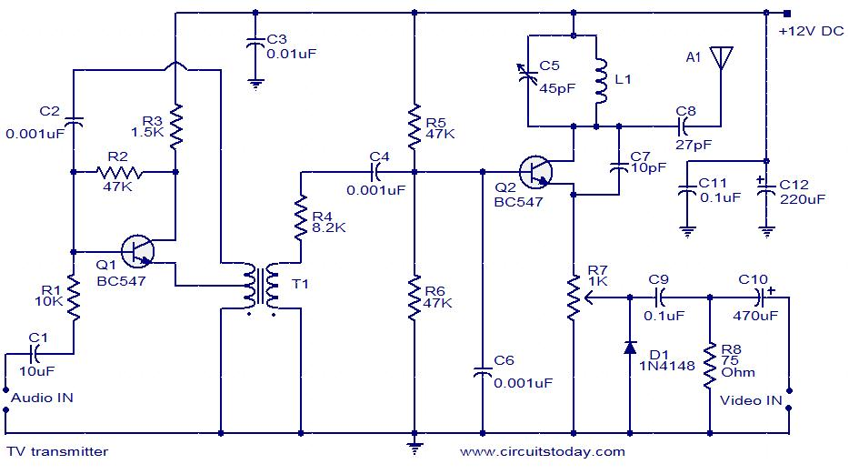 tv transmitter circuit using only 2 transistors , operates from 12v  circuitstoday