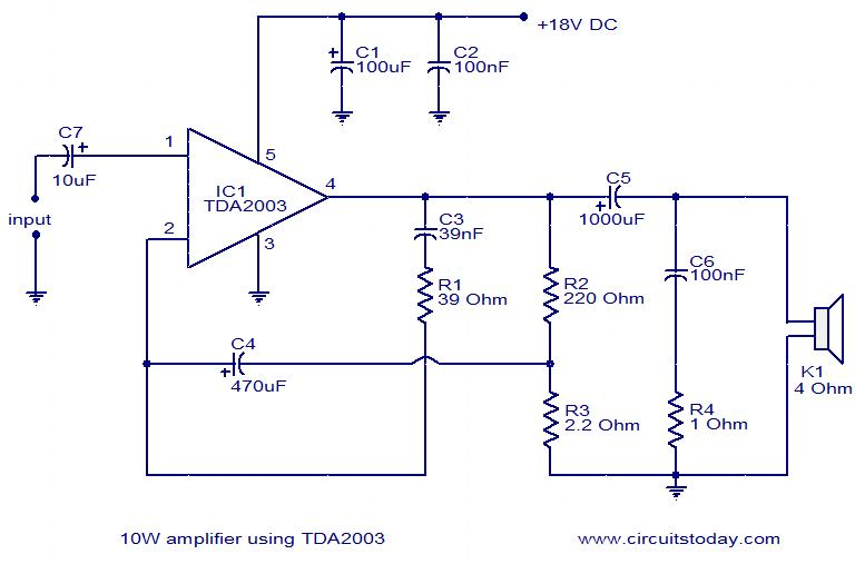 tda2003 10w amplifier a diy guide with circuit pin diagram rh circuitstoday com Home Audio Amplifier Circuit Diagram Audio Amplifier Circuit Schematic