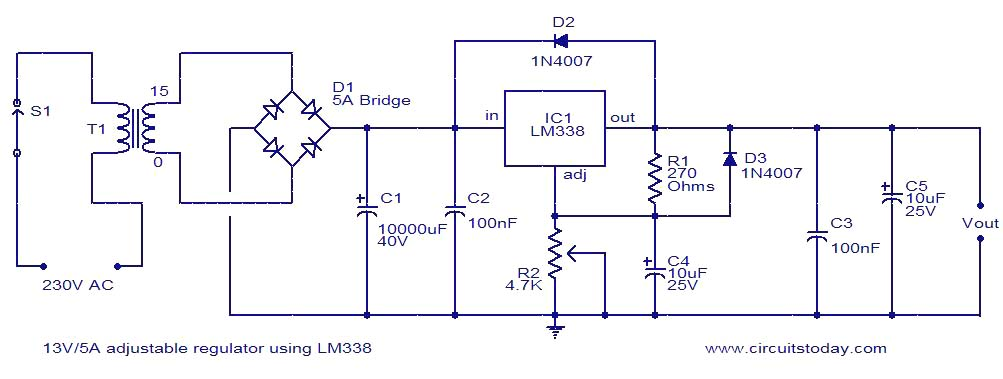 13v 5a adjustable regulator using lm338