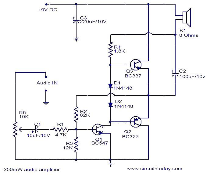 250mw audio amplifier electronic circuits and diagrams electronic250mw audio amplifier circuit