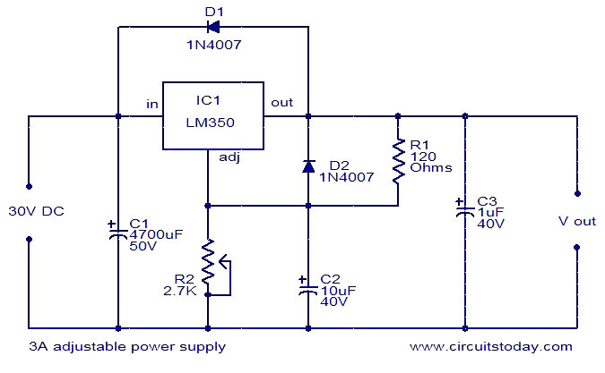 3a adjustable regulator using lm350 electronic circuits and rh circuitstoday com Schema Diagram Tool Building a Database Schema Diagram