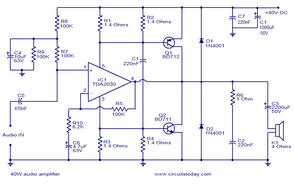 40w audio amplifier electronic circuits and diagram electronics 40w audio amplifier circuit