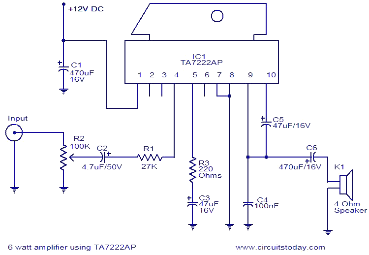 6w Amplifier Using Ta7222ap