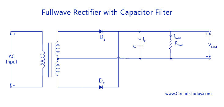 filter circuits working series inductor shunt capacitor rc filter full wave rectifier capacitor filter