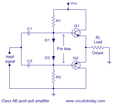 transformer less class ab push pull amplifier