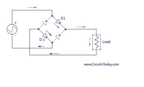bridge rectifier full wave rectifier circuit diagram design current path in bridge rectifier