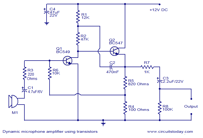 dynamic microphone amplifier using transistors electronic circuits rh circuitstoday com mic echo circuit diagram condenser mic circuit diagram