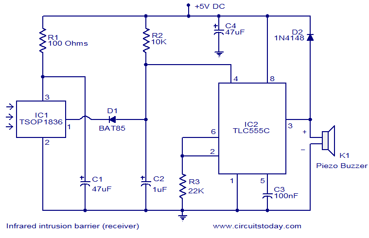 infrared intrusion barrier electronic circuits and diagrams rh circuitstoday com ir receiver circuit diagram using tsop1738 ir receiver circuit diagram using tsop1738