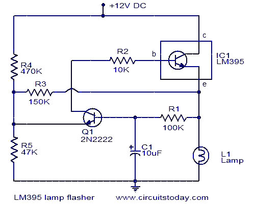 lamp flasher using lm395 electronic circuits and. Black Bedroom Furniture Sets. Home Design Ideas