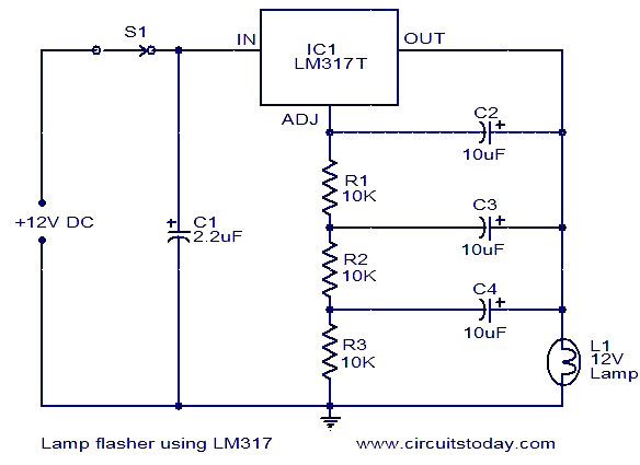 L  Flasher Using Lm317 on lighting circuits diagrams