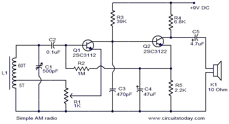 simple am radio electronic circuits and diagrams electronic rh circuitstoday com simple schematic diagram of power supply simple schematic diagram with resistors capacitors and transistors