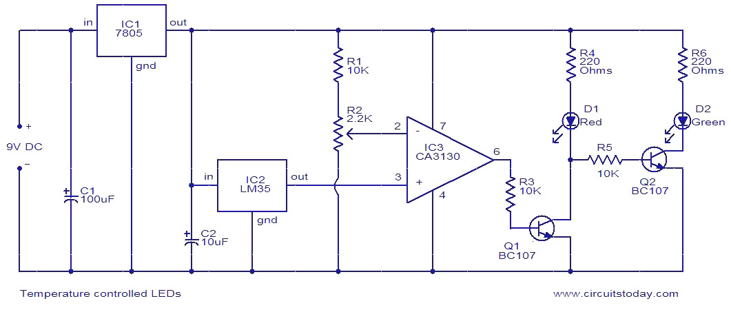Temperature Controlled Leds Electronic Circuits And Diagram - Wiring