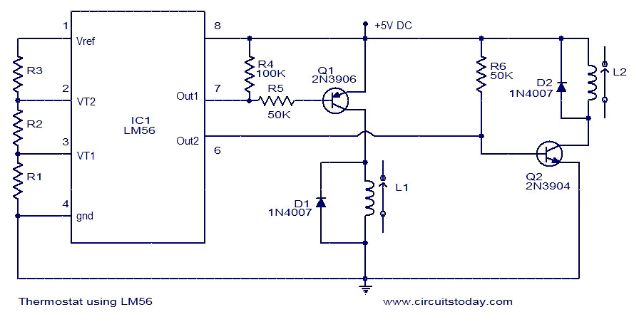 thermostat using lm56 electronic circuits and diagrams electronic rh circuitstoday com electronic circuit diagram software electronic circuit diagram drawing software free download