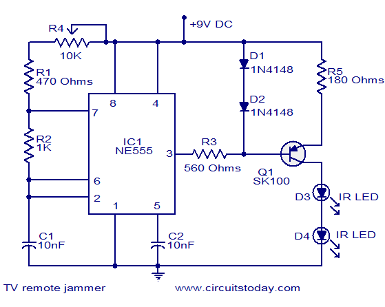 Circuito Jammer : Tv remote jammer electronic circuits and diagrams