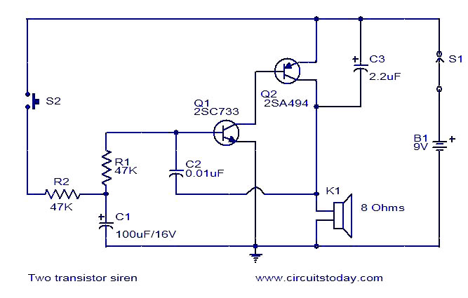 two transistor siren  electronic circuits and diagramelectronics, wiring diagram