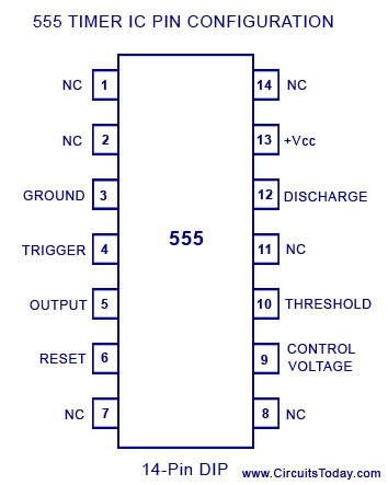 555 timer dual in line package 14 pin configuration