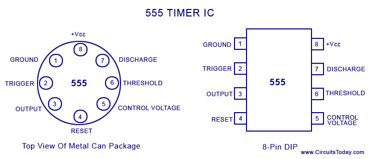 555 timer ic pin configuration and diagram