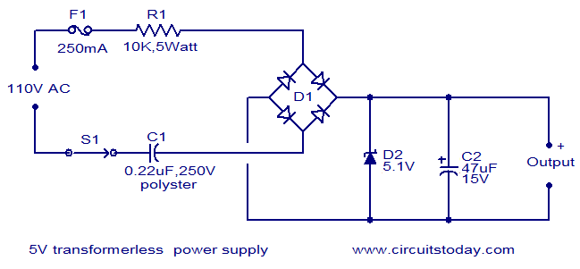 5V transformerless powersupply