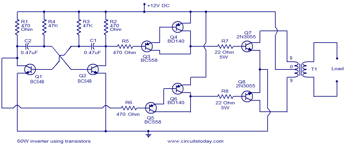 circuit diagram  60w inverter using transitors