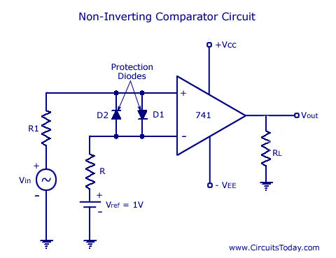 741 IC Non-Inverting Comparator Circuit