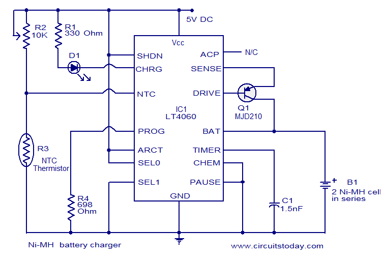 Ni mh battery charger using lt4060 electronic circuits and
