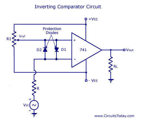 741 IC Op-amp comparator circuit diagram,schematic, design,working