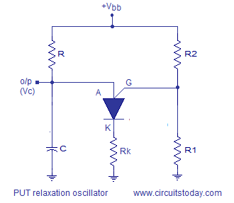 PUT relaxation oscillator circuit