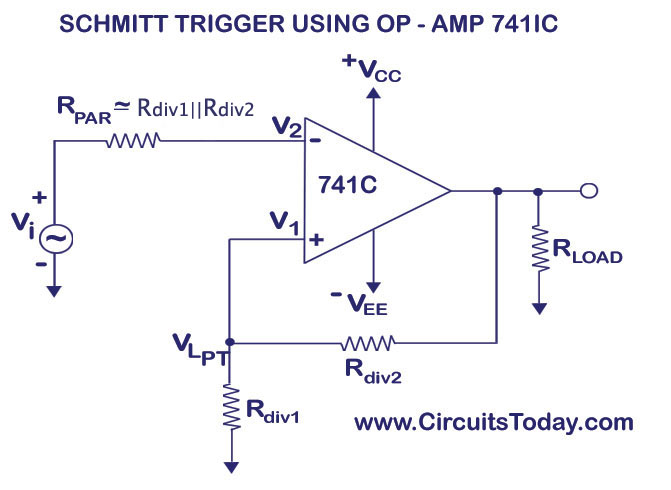 Schmitt Trigger Circuit Using Op-Amp uA741 IC
