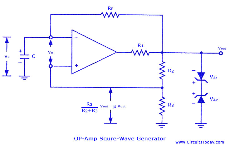 square wave generator using op amp electronic circuits and rh circuitstoday com