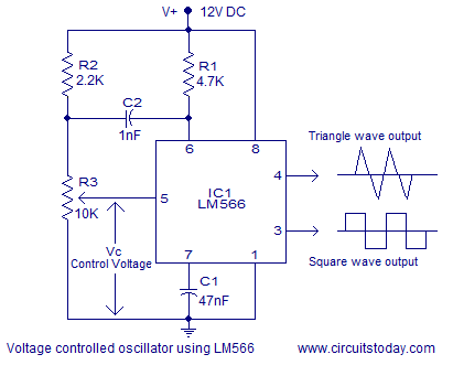 voltage controlled oscillator vco theory and working lm566 ic rh circuitstoday com Colpitts VCO Design Sine Wave VCO