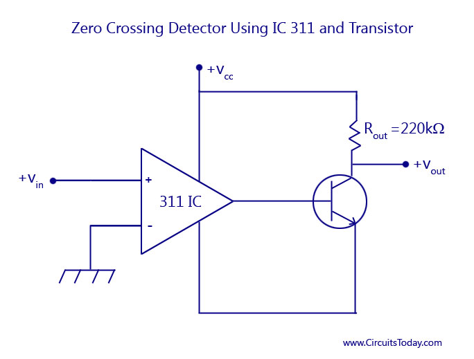 Zero-Crossing Detector Using IC 311 and Transistor