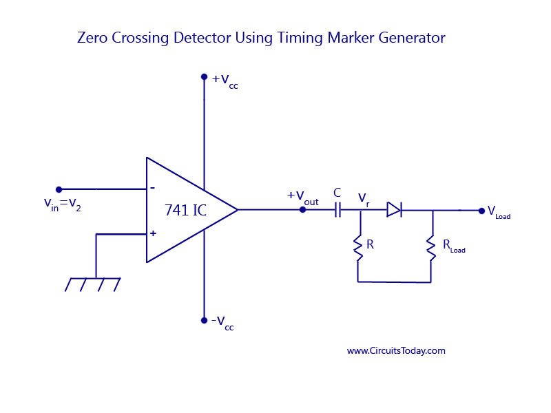 Zero crossing detector circuit diagram working and waveform zero crossing detector using timing marker generator ccuart Images