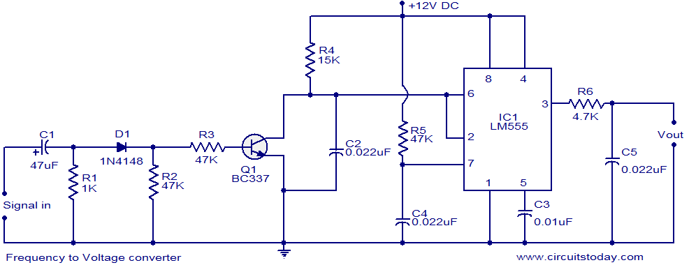 Voltage to frequency converter using ic 555