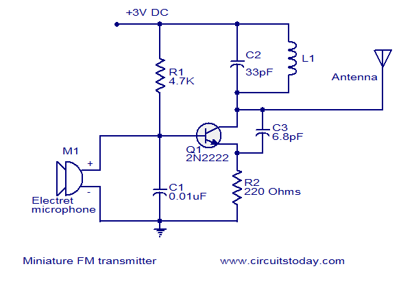 fm transmitter circuits diagram schematics miniature fm transmitter - electronic circuits and ... 4 wire transmitter wiring diagram