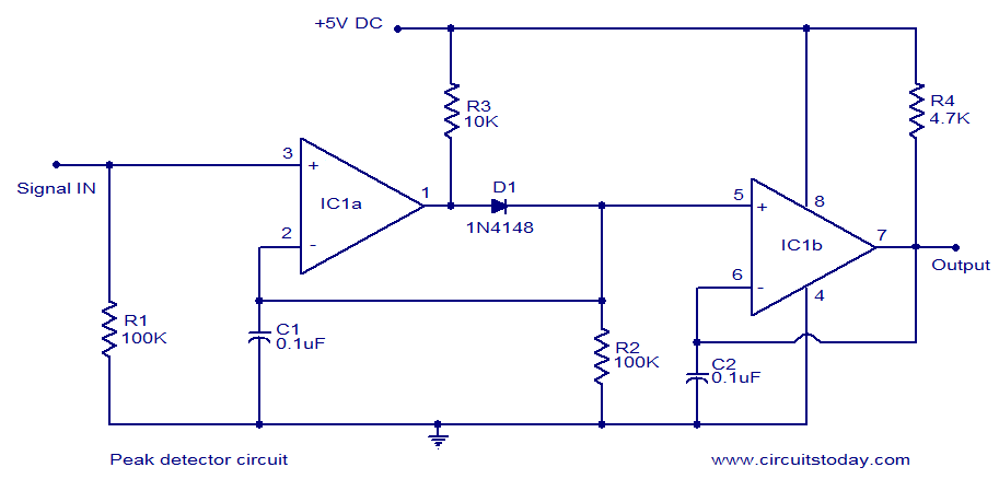 simple peak detector circuit using lm393 uses minimum components rh circuitstoday com Precision Peak Detector Circuit DC Voltage Detector Circuit