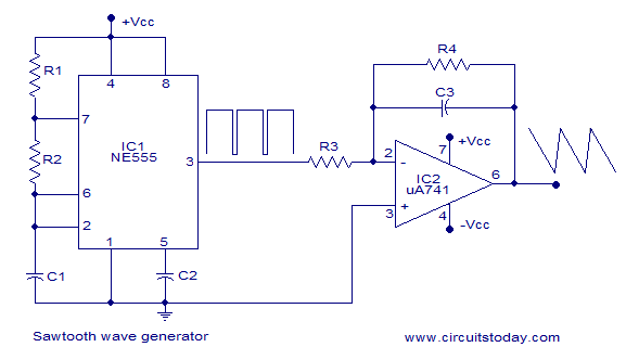 sawtooth wave generator using ne555 and opamp ne555 is wired as rh circuitstoday com Retriggerable Ramp Generator Circuit Sound Effects Generator Circuit Diagram