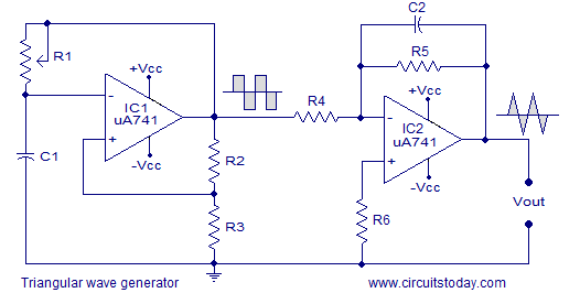 triangular wave generator using opamp circuit diagram working and