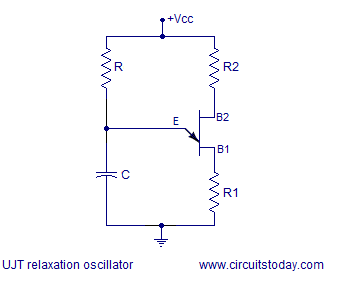 Ujt Relaxation Oscillator on current limiting resistor equation
