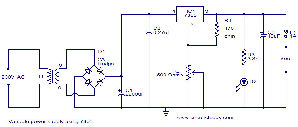 Variable power supply using 7805CircuitsToday