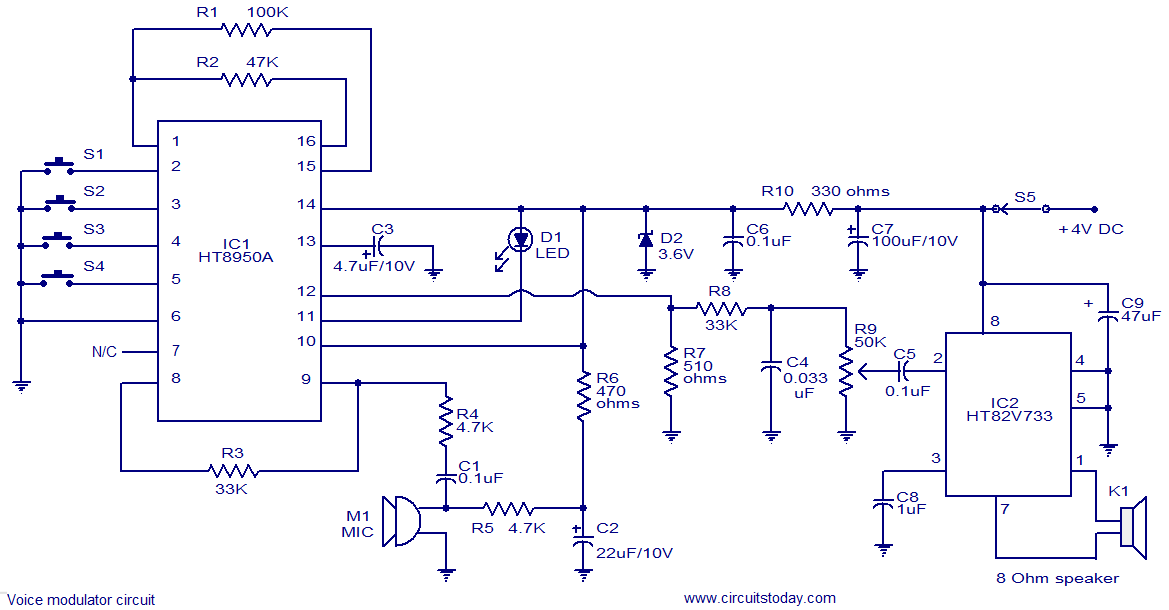 voice modulator circuit - electronic circuits and diagram, Wiring circuit